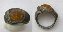 Ring, Roman, Men's, Orange Glass gem, ca. 2nd-3rd Cent